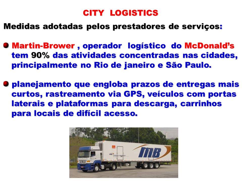 CITY LOGISTICS Medidas adotadas pelos prestadores de serviços: Martin-Brower, operador logístico do McDonalds Martin-Brower, operador logístico do McD