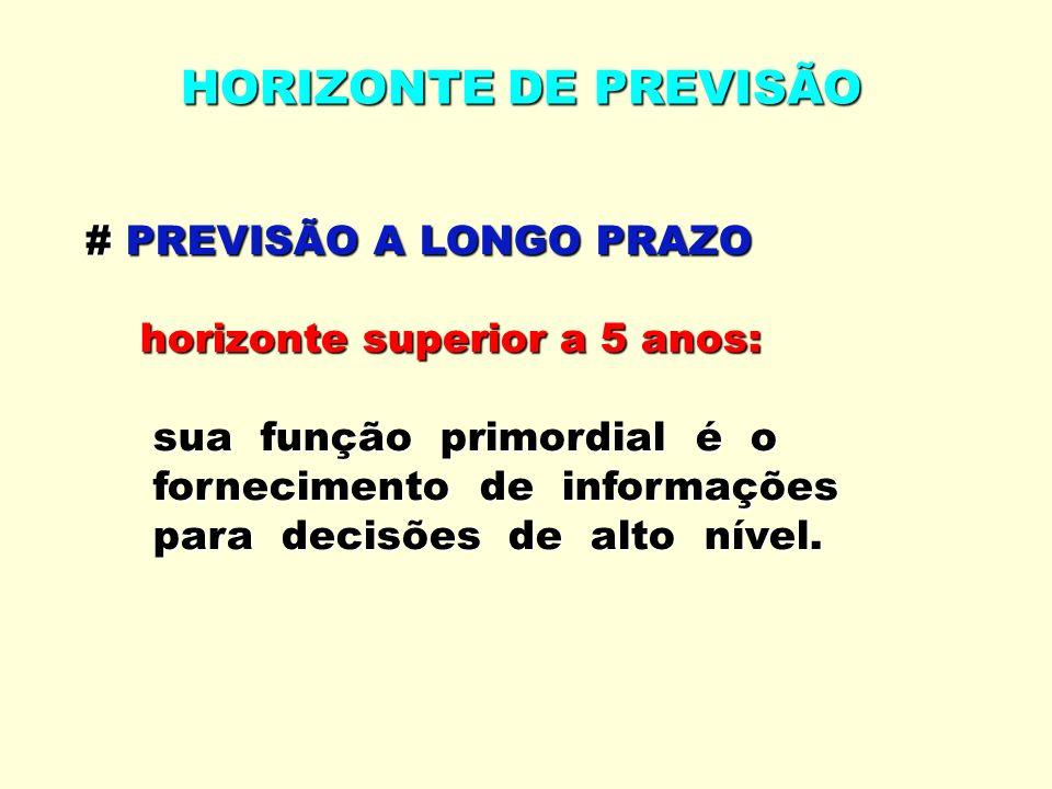 # PREVISÃO A LONGO PRAZO horizonte superior a 5 anos: horizonte superior a 5 anos: sua função primordial é o sua função primordial é o fornecimento de