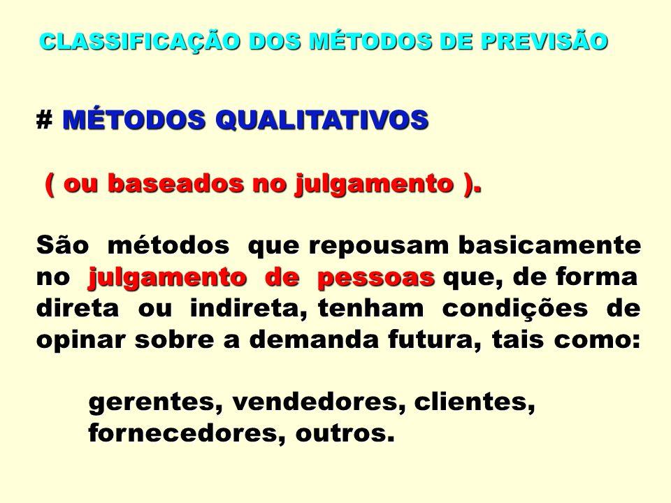 CLASSIFICAÇÃO DOS MÉTODOS DE PREVISÃO # MÉTODOS QUALITATIVOS ( ou baseados no julgamento ). ( ou baseados no julgamento ). São métodos que repousam ba