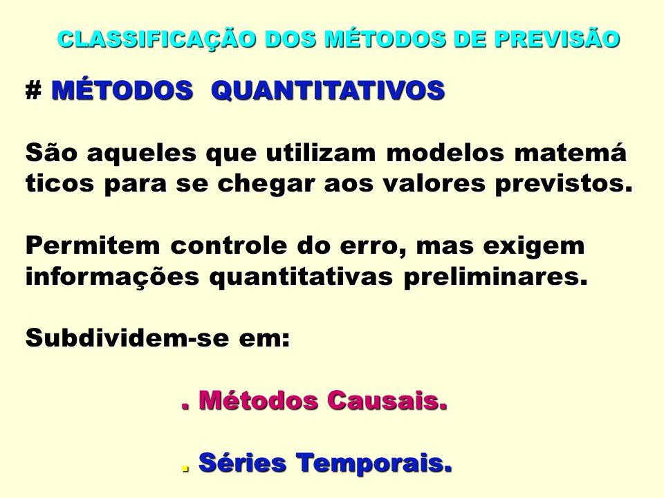 CLASSIFICAÇÃO DOS MÉTODOS DE PREVISÃO # MÉTODOS QUANTITATIVOS São aqueles que utilizam modelos matemá ticos para se chegar aos valores previstos.