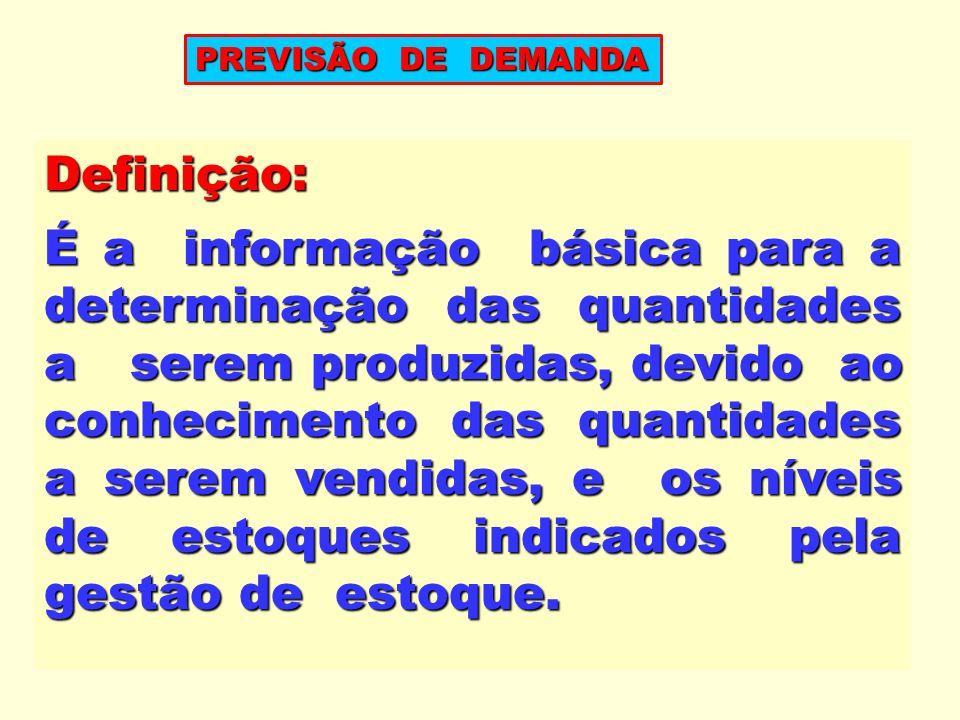Definição: É a informação básica para a determinação das quantidades a serem produzidas, devido ao conhecimento das quantidades a serem vendidas, e os