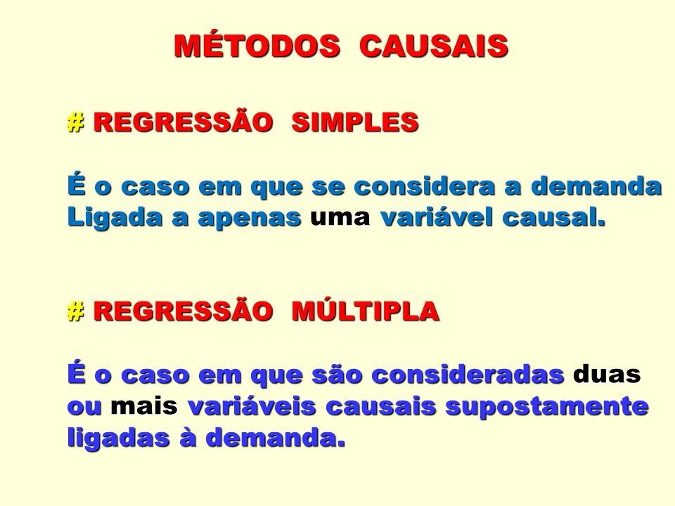 MÉTODOS CAUSAIS # REGRESSÃO SIMPLES É o caso em que se considera a demanda Ligada a apenas uma variável causal. # REGRESSÃO MÚLTIPLA É o caso em que s