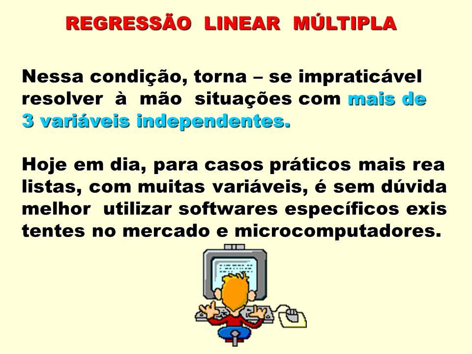 REGRESSÃO LINEAR MÚLTIPLA Nessa condição, torna – se impraticável resolver à mão situações com mais de 3 variáveis independentes.
