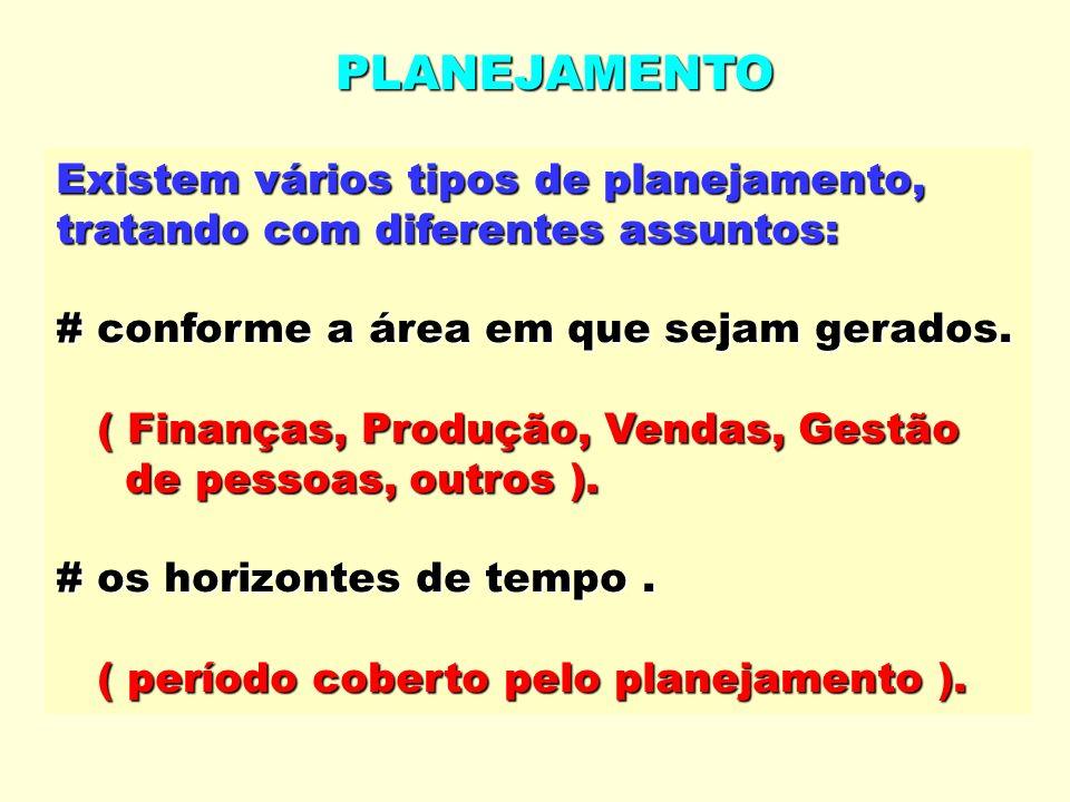 PLANEJAMENTO Existem vários tipos de planejamento, tratando com diferentes assuntos: # conforme a área em que sejam gerados. ( Finanças, Produção, Ven