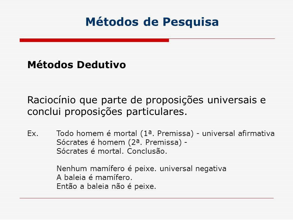 Métodos de Pesquisa Métodos Dedutivo Raciocínio que parte de proposições universais e conclui proposições particulares. Ex. Todo homem é mortal (1ª. P
