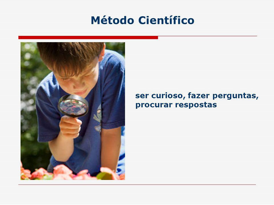 ser curioso, fazer perguntas, procurar respostas Método Científico