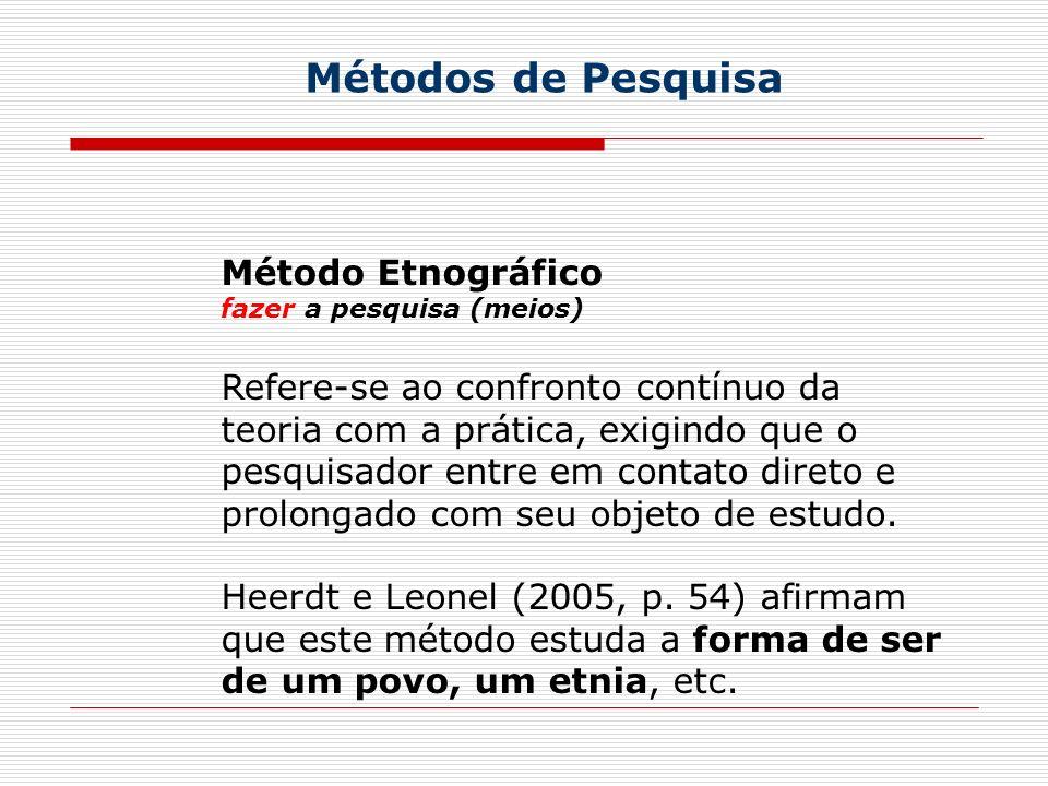 Métodos de Pesquisa Método Etnográfico fazer a pesquisa (meios) Refere-se ao confronto contínuo da teoria com a prática, exigindo que o pesquisador entre em contato direto e prolongado com seu objeto de estudo.