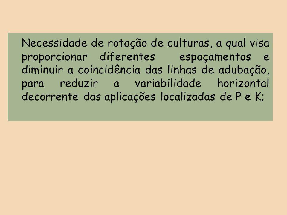 Necessidade de rotação de culturas, a qual visa proporcionar diferentes espaçamentos e diminuir a coincidência das linhas de adubação, para reduzir a