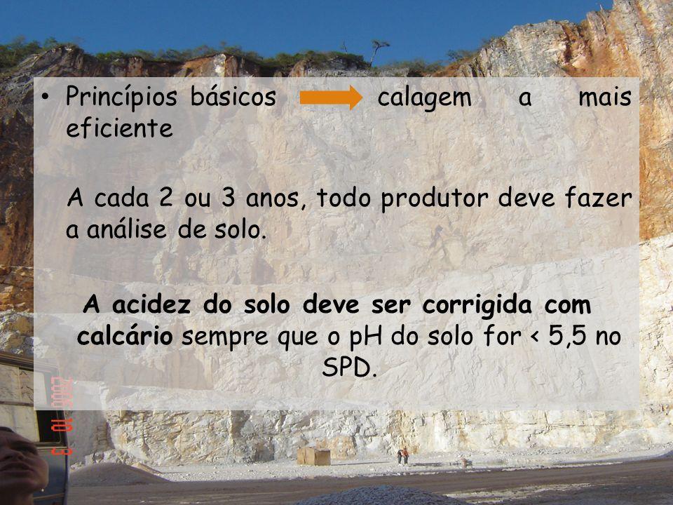 Princípios básicos calagem a mais eficiente A cada 2 ou 3 anos, todo produtor deve fazer a análise de solo. A acidez do solo deve ser corrigida com ca