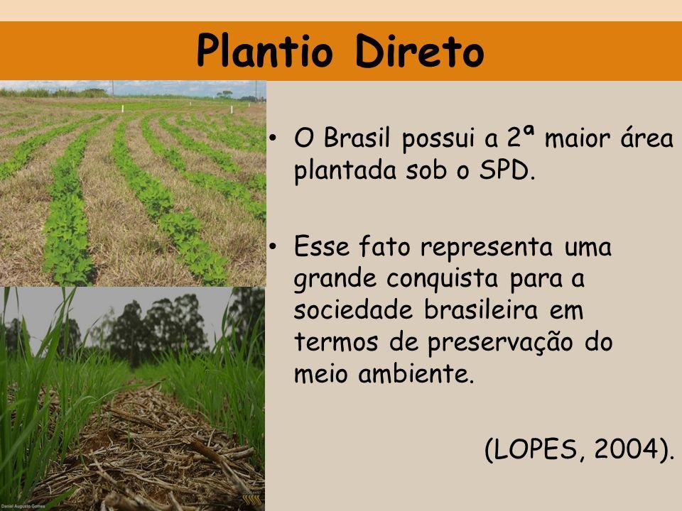 O Brasil possui a 2ª maior área plantada sob o SPD. Esse fato representa uma grande conquista para a sociedade brasileira em termos de preservação do