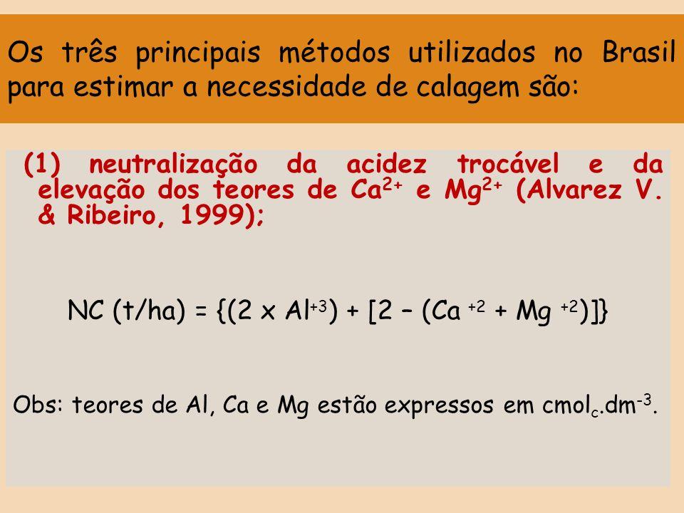 Os três principais métodos utilizados no Brasil para estimar a necessidade de calagem são: (1) neutralização da acidez trocável e da elevação dos teor