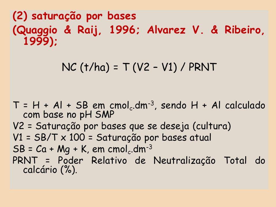 (2) saturação por bases (Quaggio & Raij, 1996; Alvarez V. & Ribeiro, 1999); NC (t/ha) = T (V2 – V1) / PRNT T = H + Al + SB em cmol c.dm -3, sendo H +