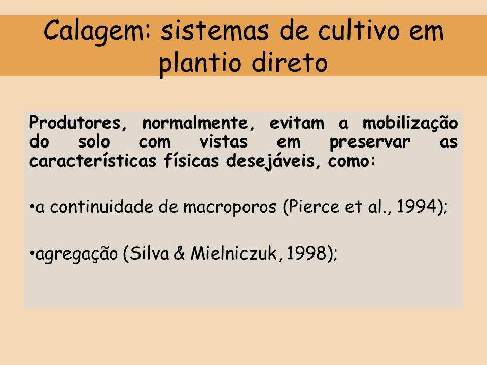 Calagem: sistemas de cultivo em plantio direto Produtores, normalmente, evitam a mobilização do solo com vistas em preservar as características física