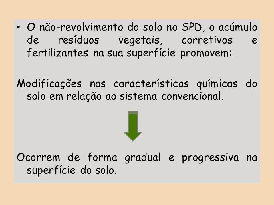 O não-revolvimento do solo no SPD, o acúmulo de resíduos vegetais, corretivos e fertilizantes na sua superfície promovem: Modificações nas característ