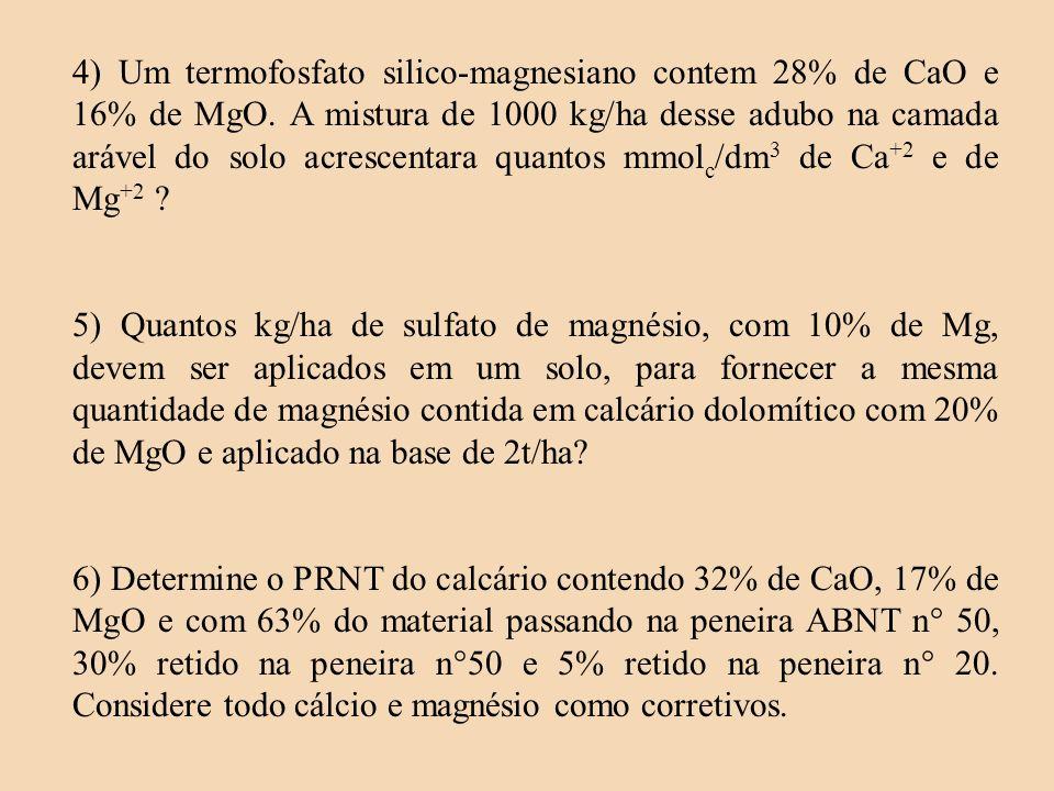 4) Um termofosfato silico-magnesiano contem 28% de CaO e 16% de MgO. A mistura de 1000 kg/ha desse adubo na camada arável do solo acrescentara quantos