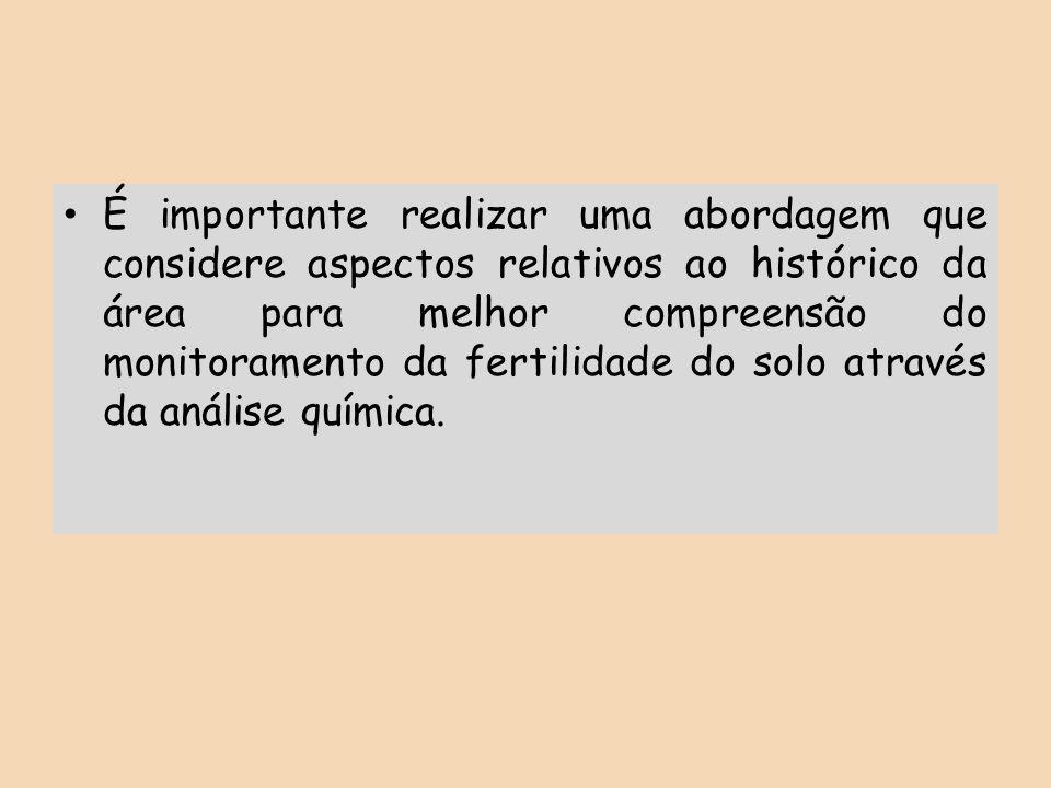 É importante realizar uma abordagem que considere aspectos relativos ao histórico da área para melhor compreensão do monitoramento da fertilidade do s