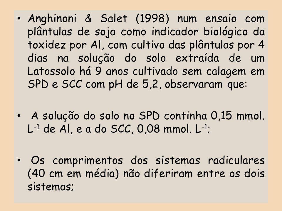 Anghinoni & Salet (1998) num ensaio com plântulas de soja como indicador biológico da toxidez por Al, com cultivo das plântulas por 4 dias na solução