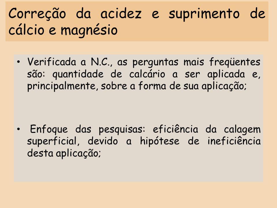 Correção da acidez e suprimento de cálcio e magnésio Verificada a N.C., as perguntas mais freqüentes são: quantidade de calcário a ser aplicada e, pri