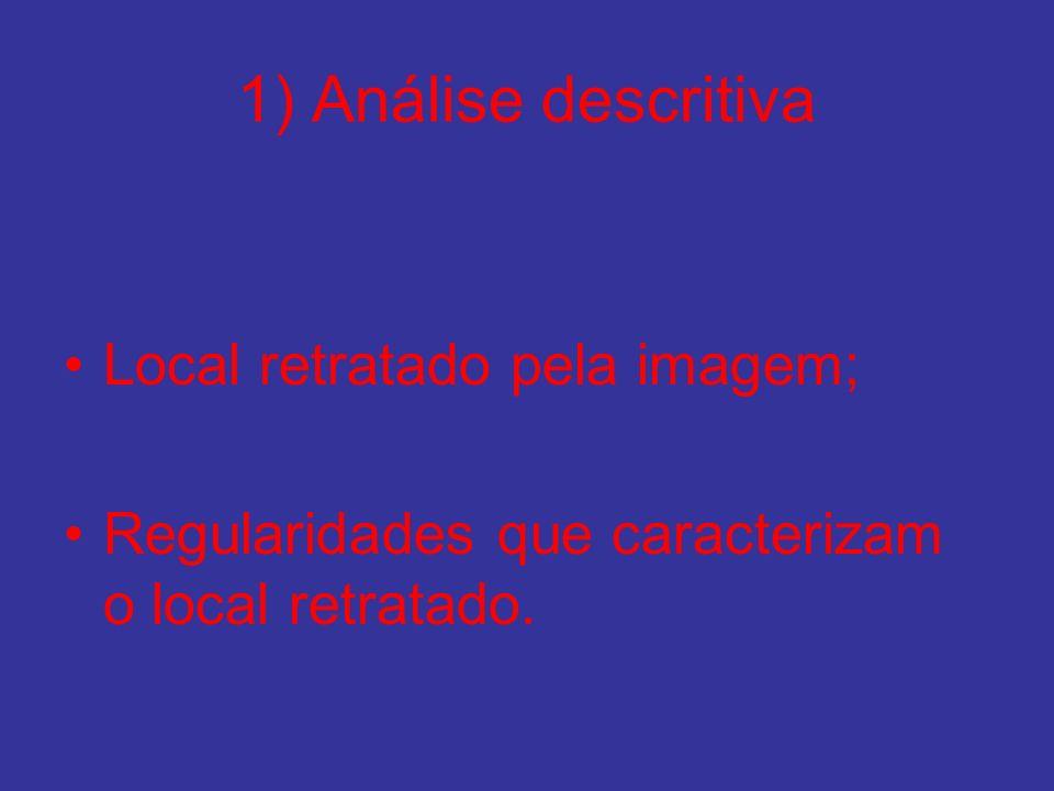 1) Análise descritiva Local retratado pela imagem; Regularidades que caracterizam o local retratado.