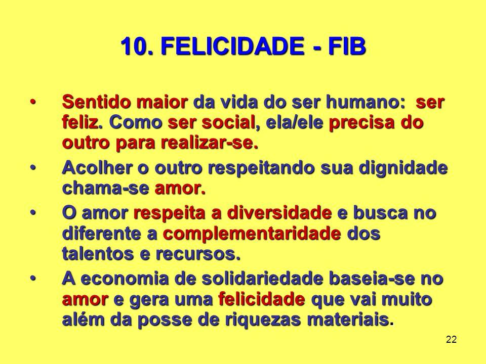 22 10. FELICIDADE - FIB Sentido maior da vida do ser humano: ser feliz.