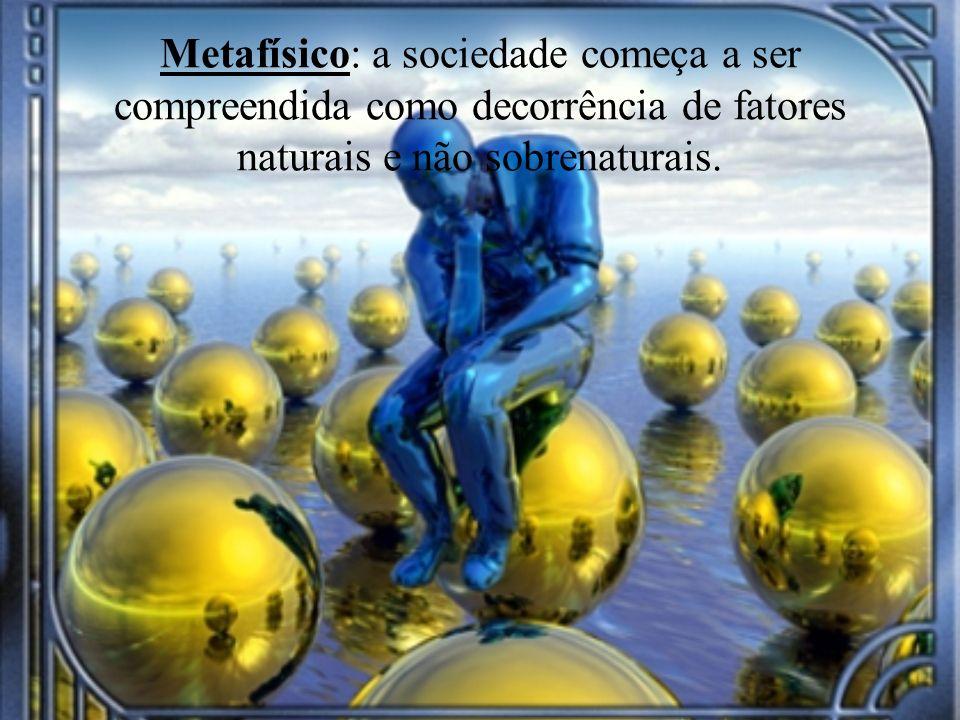 Metafísico: a sociedade começa a ser compreendida como decorrência de fatores naturais e não sobrenaturais.