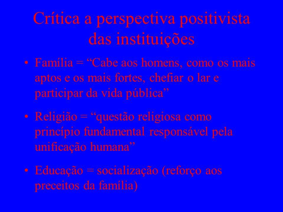 Crítica a perspectiva positivista das instituições Família = Cabe aos homens, como os mais aptos e os mais fortes, chefiar o lar e participar da vida