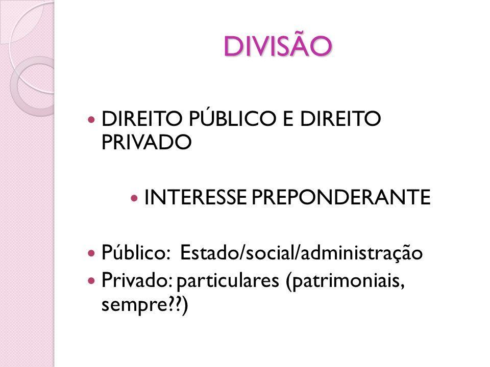 DIVISÃO DIREITO PÚBLICO E DIREITO PRIVADO INTERESSE PREPONDERANTE Público: Estado/social/administração Privado: particulares (patrimoniais, sempre??)