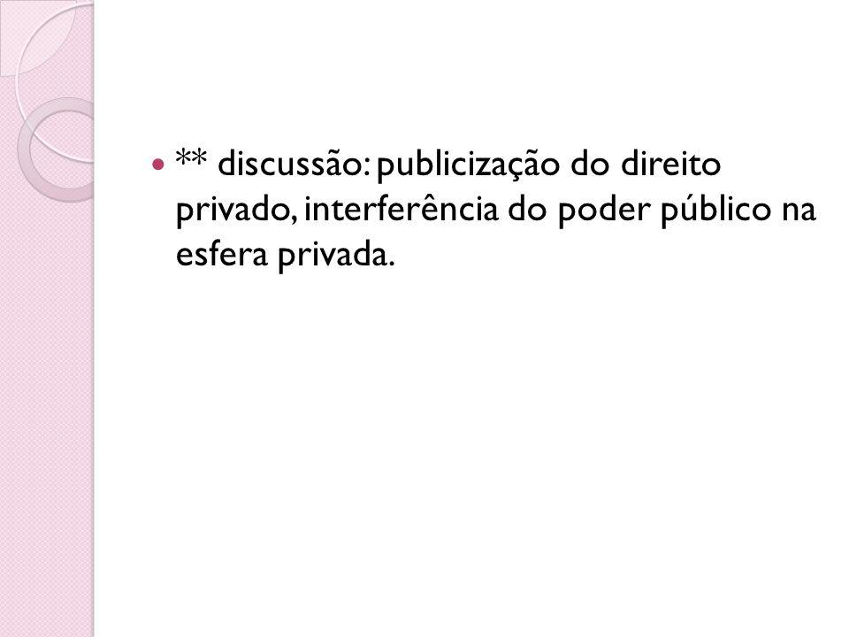 ** discussão: publicização do direito privado, interferência do poder público na esfera privada.