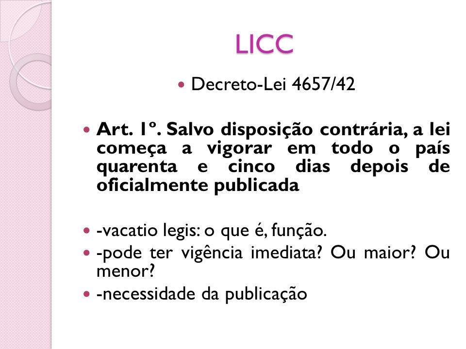LICC Decreto-Lei 4657/42 Art. 1º. Salvo disposição contrária, a lei começa a vigorar em todo o país quarenta e cinco dias depois de oficialmente publi