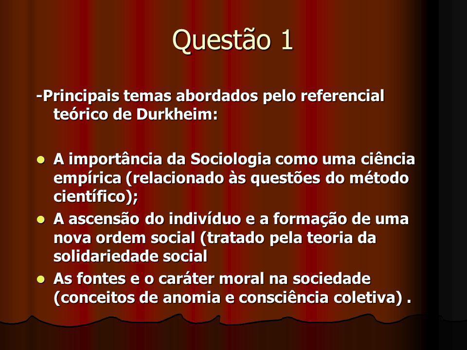 Questão 1 -Principais temas abordados pelo referencial teórico de Durkheim: A importância da Sociologia como uma ciência empírica (relacionado às ques