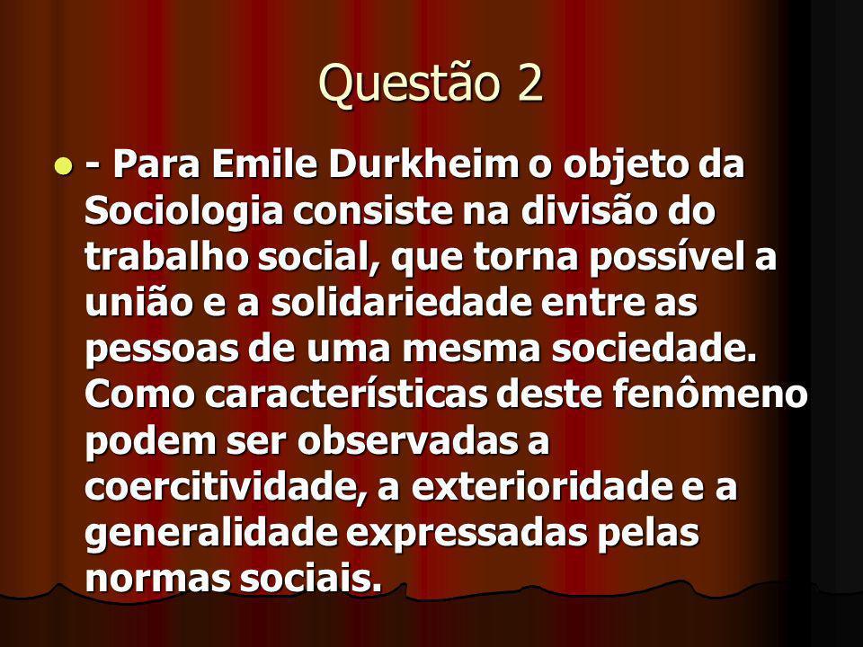 Questão 2 - Para Emile Durkheim o objeto da Sociologia consiste na divisão do trabalho social, que torna possível a união e a solidariedade entre as p
