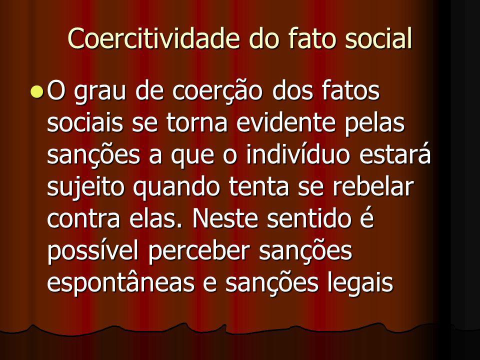 Coercitividade do fato social O grau de coerção dos fatos sociais se torna evidente pelas sanções a que o indivíduo estará sujeito quando tenta se reb