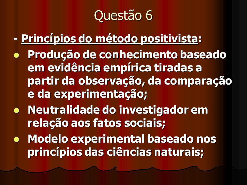 Questão 6 - Princípios do método positivista: Produção de conhecimento baseado em evidência empírica tiradas a partir da observação, da comparação e d