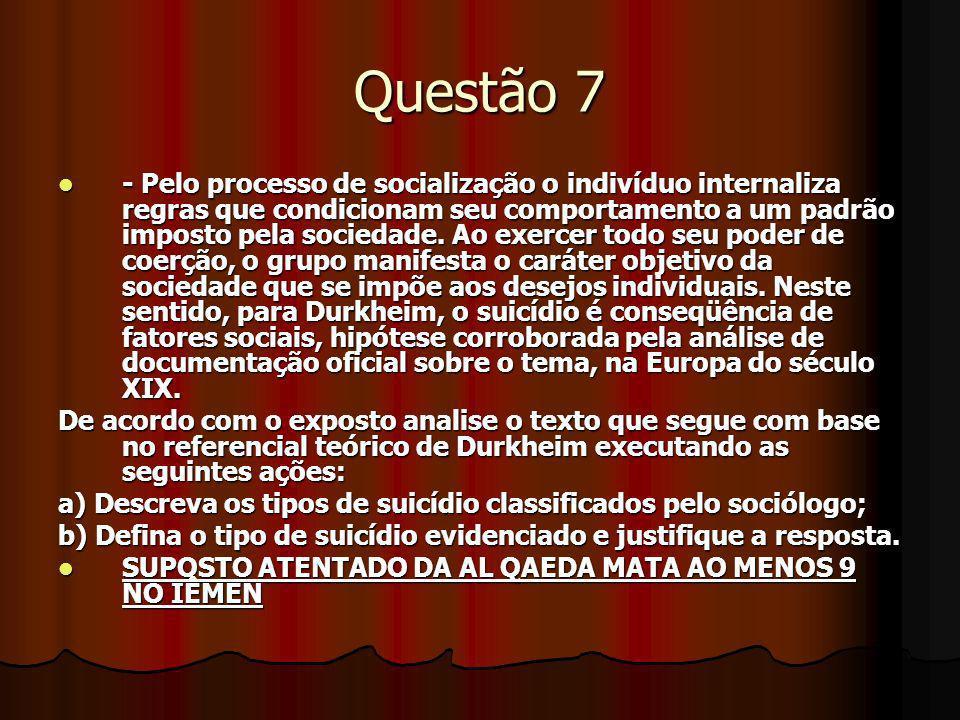 Questão 7 - Pelo processo de socialização o indivíduo internaliza regras que condicionam seu comportamento a um padrão imposto pela sociedade. Ao exer