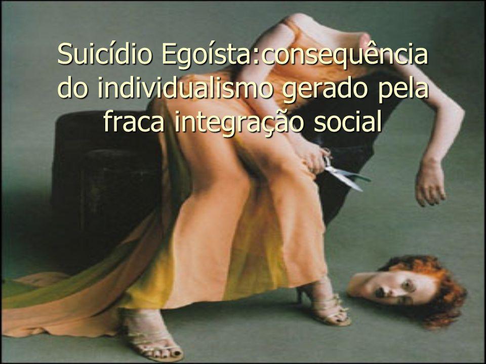 Suicídio Egoísta:consequência do individualismo gerado pela fraca integração social