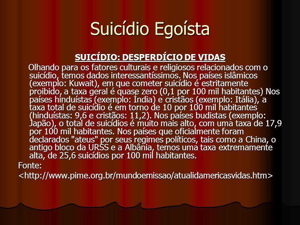 Suicídio Egoísta SUICÍDIO: DESPERDÍCIO DE VIDAS Olhando para os fatores culturais e religiosos relacionados com o suicídio, temos dados interessantíss