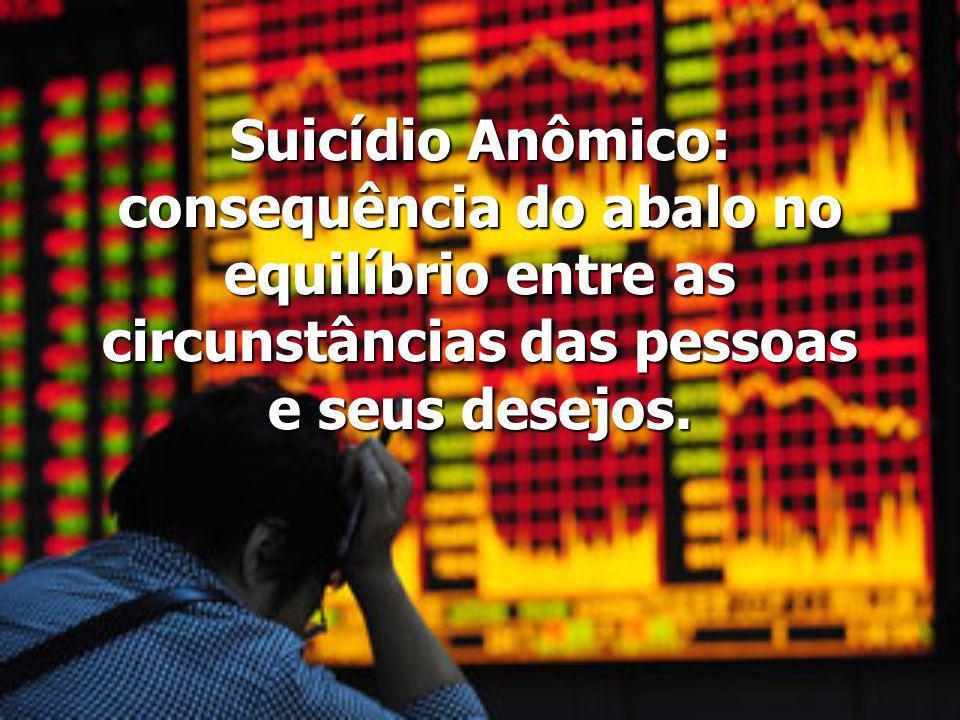 Suicídio Anômico: consequência do abalo no equilíbrio entre as circunstâncias das pessoas e seus desejos.