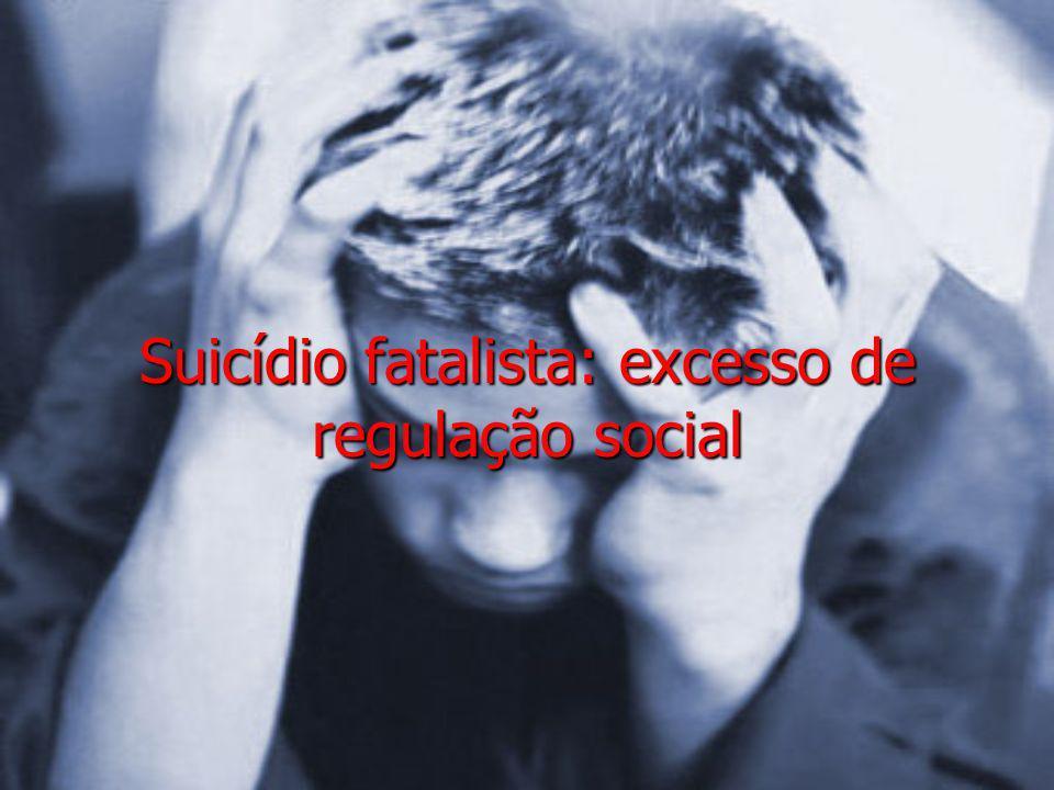 Suicídio fatalista: excesso de regulação social