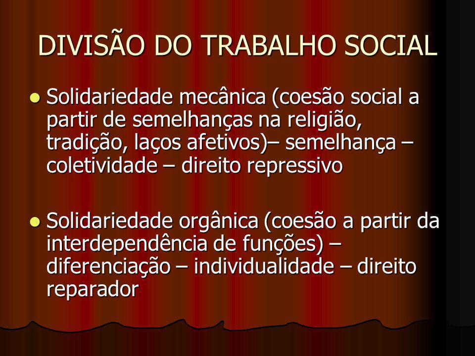 DIVISÃO DO TRABALHO SOCIAL Solidariedade mecânica (coesão social a partir de semelhanças na religião, tradição, laços afetivos)– semelhança – coletivi