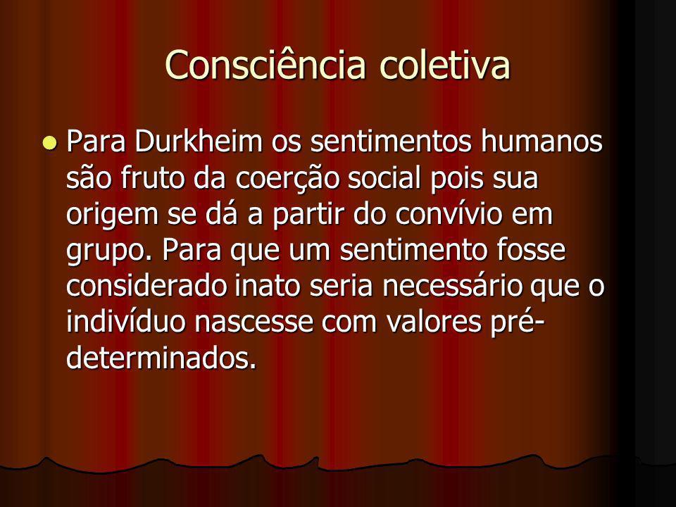 Consciência coletiva Para Durkheim os sentimentos humanos são fruto da coerção social pois sua origem se dá a partir do convívio em grupo. Para que um