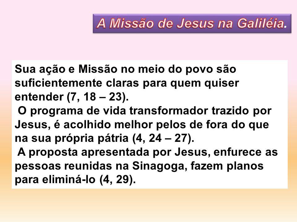 Sua ação e Missão no meio do povo são suficientemente claras para quem quiser entender (7, 18 – 23). O programa de vida transformador trazido por Jesu