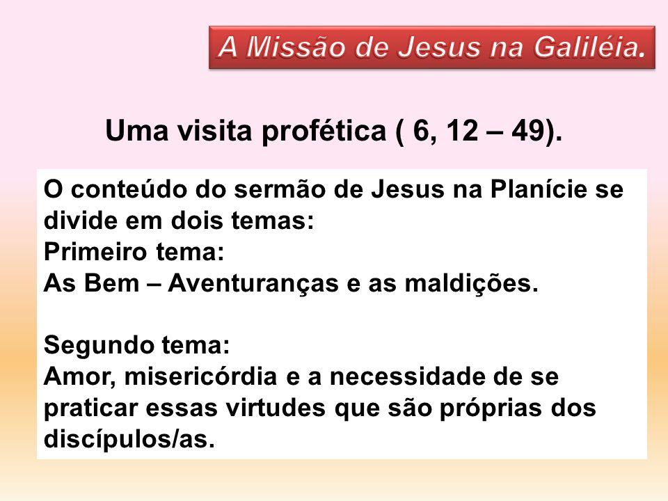 O conteúdo do sermão de Jesus na Planície se divide em dois temas: Primeiro tema: As Bem – Aventuranças e as maldições. Segundo tema: Amor, misericórd