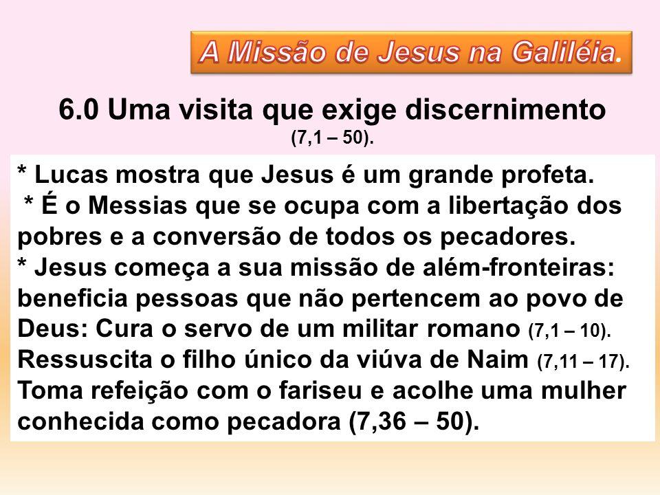 * Lucas mostra que Jesus é um grande profeta. * É o Messias que se ocupa com a libertação dos pobres e a conversão de todos os pecadores. * Jesus come