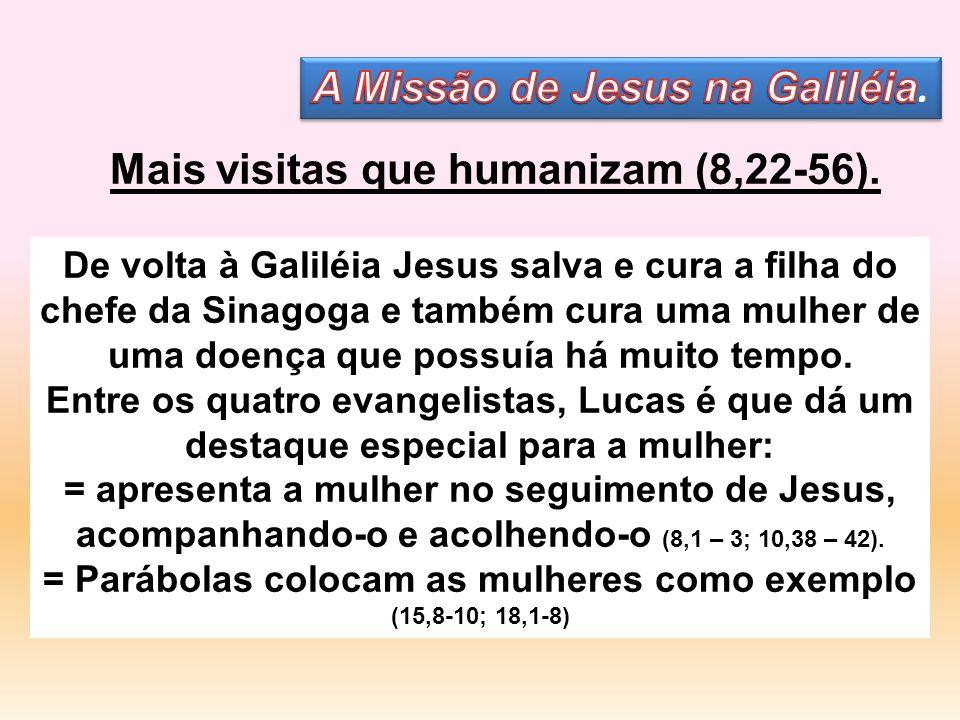 De volta à Galiléia Jesus salva e cura a filha do chefe da Sinagoga e também cura uma mulher de uma doença que possuía há muito tempo. Entre os quatro