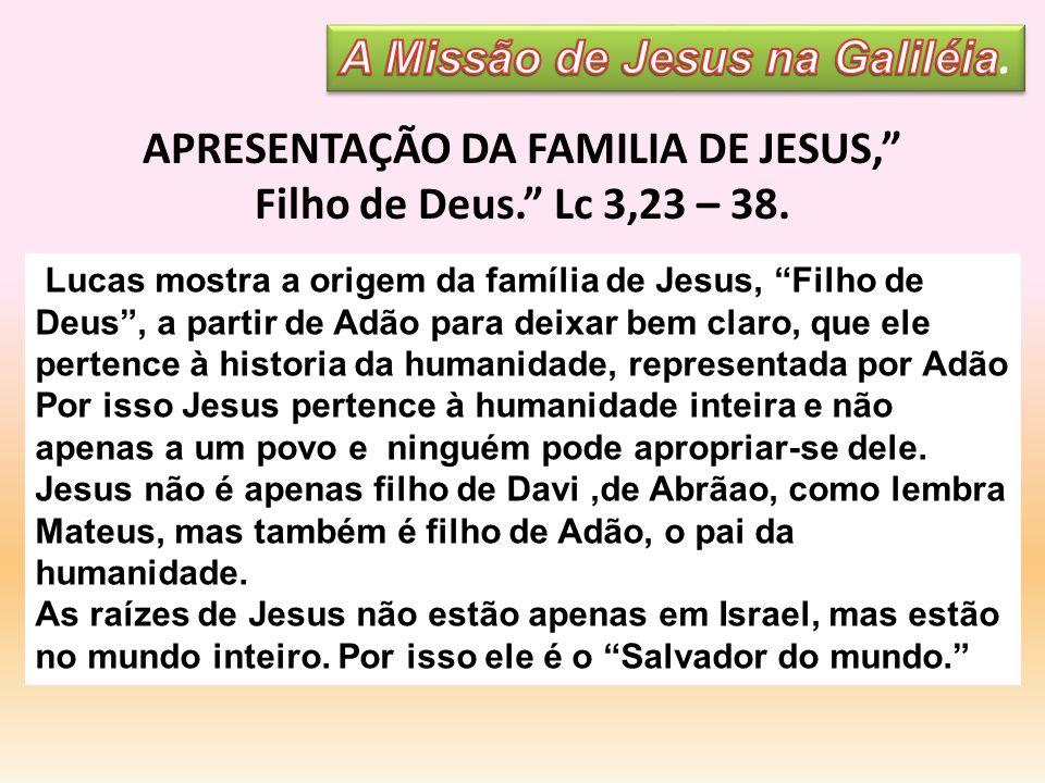 Lucas mostra a origem da família de Jesus, Filho de Deus, a partir de Adão para deixar bem claro, que ele pertence à historia da humanidade, represent