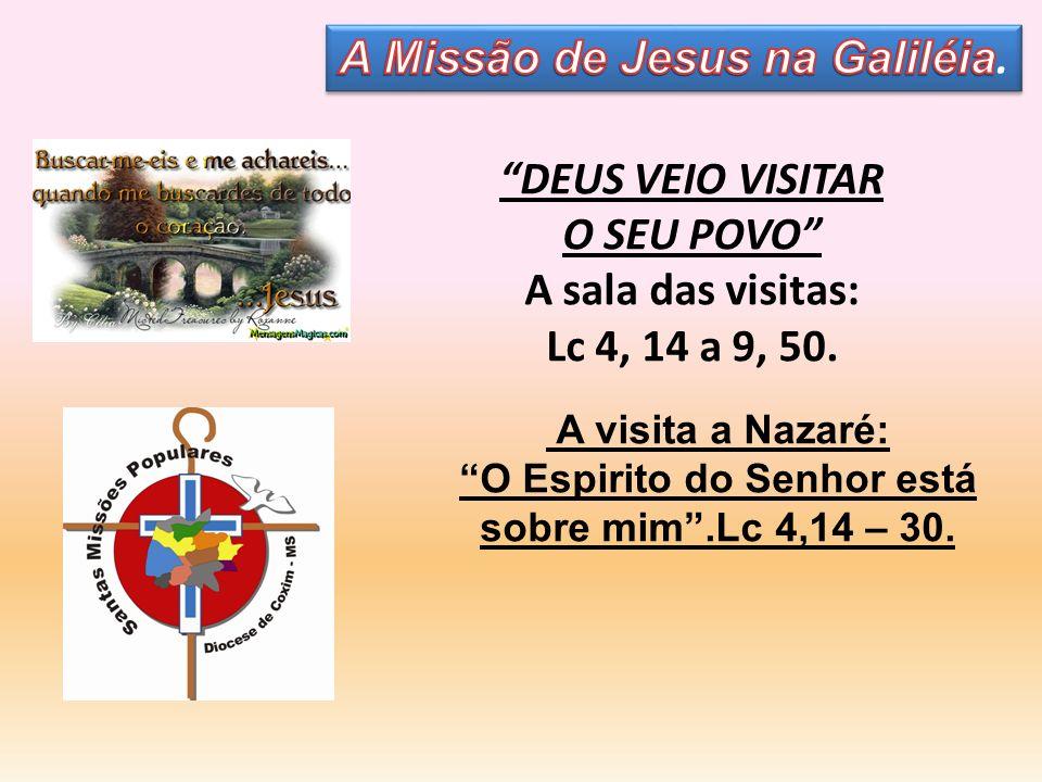 DEUS VEIO VISITAR O SEU POVO A sala das visitas: Lc 4, 14 a 9, 50. A visita a Nazaré: O Espirito do Senhor está sobre mim.Lc 4,14 – 30.