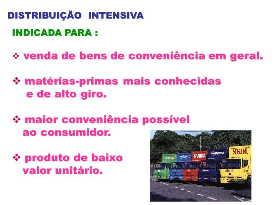 DISTRIBUIÇÃO INTENSIVA INDICADA PARA : venda de bens de conveniência em geral. matérias-primas mais conhecidas matérias-primas mais conhecidas e de al