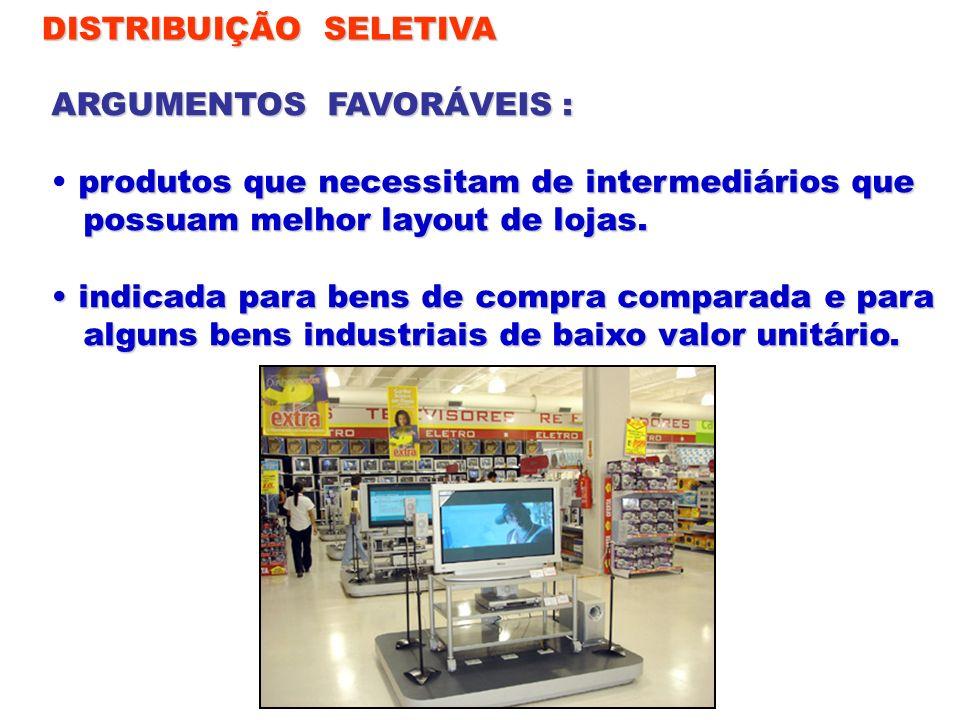 DISTRIBUIÇÃO SELETIVA ARGUMENTOS FAVORÁVEIS : produtos que necessitam de intermediários que possuam melhor layout de lojas. possuam melhor layout de l