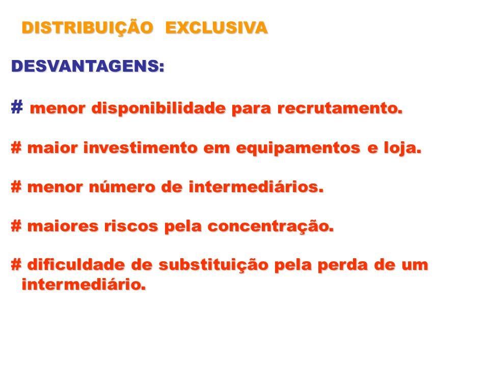 DISTRIBUIÇÃO EXCLUSIVA DESVANTAGENS: menor disponibilidade para recrutamento. # menor disponibilidade para recrutamento. # maior investimento em equip
