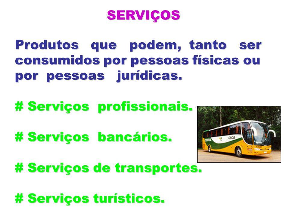 SERVIÇOS Produtos que podem, tanto ser consumidos por pessoas físicas ou por pessoas jurídicas. # Serviços profissionais. # Serviços bancários. # Serv
